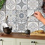 24 adhesivos de mosaico para suelo y pared, azulejos de 15 x 15 cm, adhesivos para azulejos de baño y cocina (gris y blanco, 15 x 15 cm)